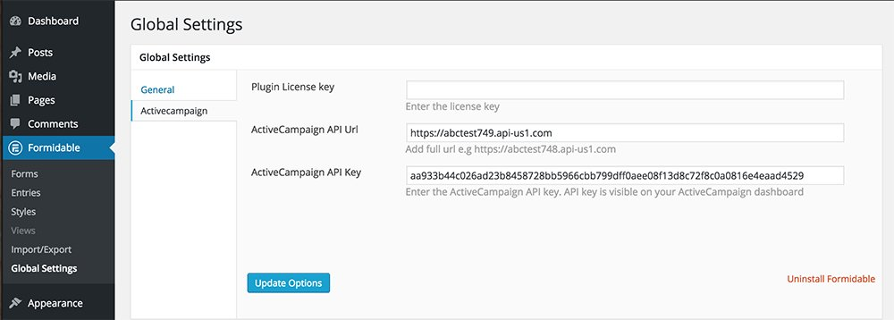 How to integrate ActiveCampaign with Formidable Forms